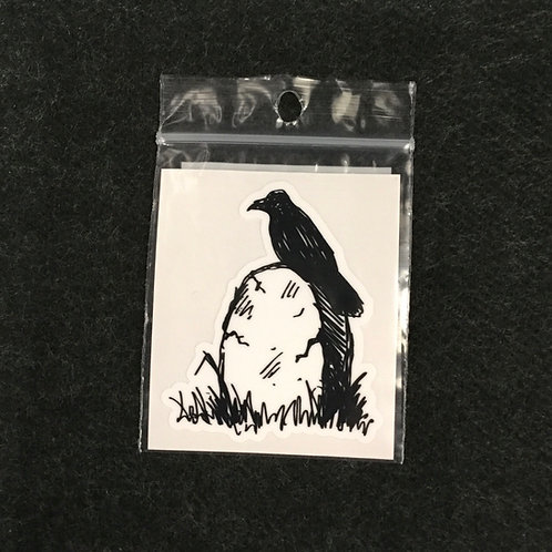 CROW HEADSTONE VINYL STICKER