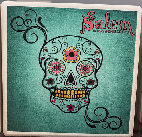 Salem Sugar Skull (blue) Ceramic Coaster