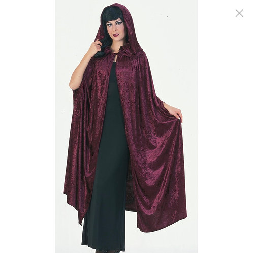BURGUNDY VELVET HOODED CAPE