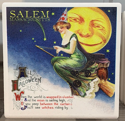 VINTAGE WITCH GREEN CERAMIC COASTER