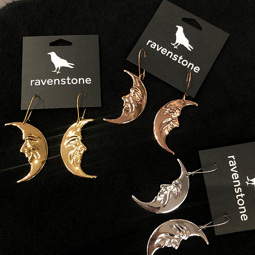 RAVENSTONE MOON FACE EARRINGS
