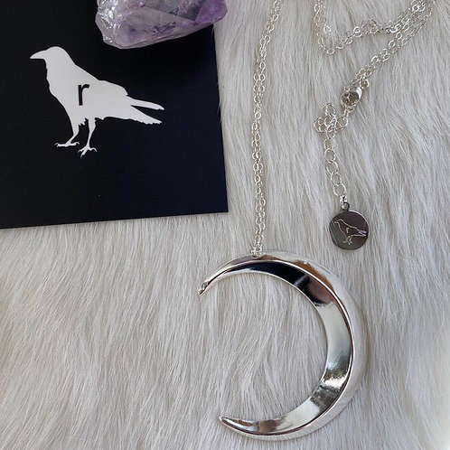LARGE CRESCENT MOON NECKLACE BY RAVENSTONE