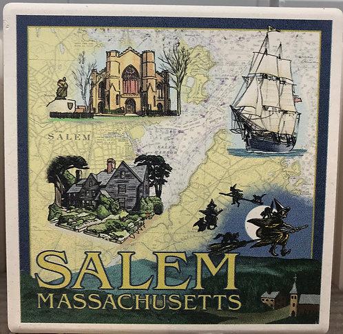 Salem Ma Map Ceramic Coaster