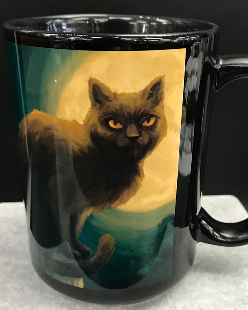 SALEM MA BLACK CAT & MOON MUG