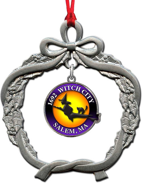 1692 WITCH CITY SALEM, MA (DANGLE) PEWTER ORNAMENT