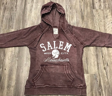 SALEM V-NECK ENZYME HOOD SWEATSHIRT WITH WITCH