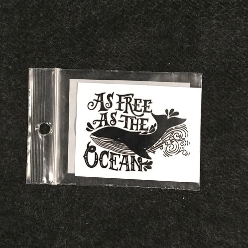 AS FREE AS OCEAN VINYL STICKER