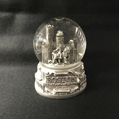 LARGE PEWTER BOSTON SNOWGLOBE