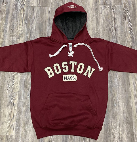 BOSTON MASS APPLIQUE HOCKEY HOOD