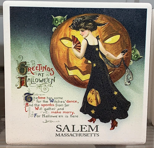 VINTAGE WITCH IN BLACK WITH PUMPKIN CERAMIC COASTER