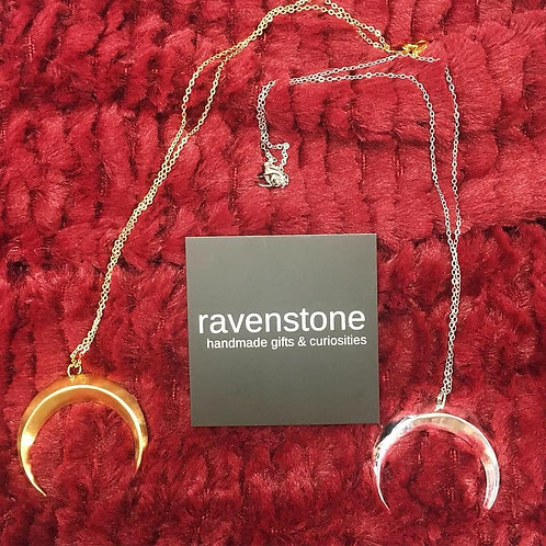 CRESCENT MOON CHARM NECKLACE BY RAVENSTONE