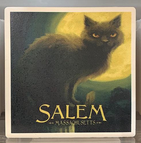 Salem Ma Black Cat Ceramic Coaster