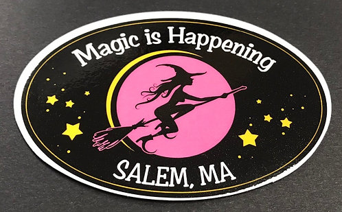 MAGIC IS HAPPENING SALEM, MA OVAL MAGNET
