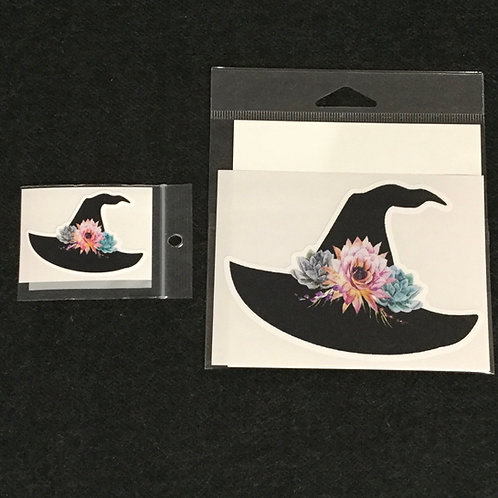 FLOWER WITCH HAT VINYL STICKER