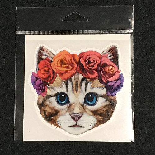 FLOWER KITTY VINYL STICKER