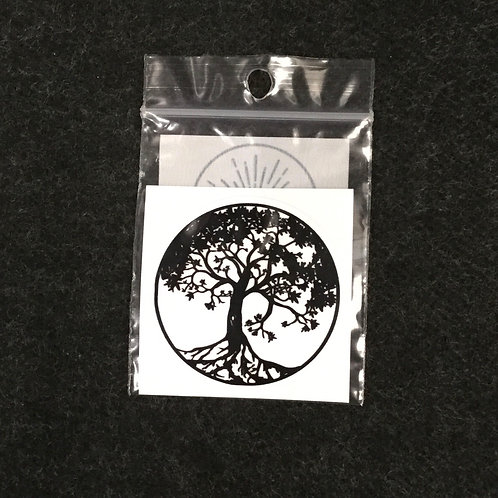 BLACK WHITE TREE OF LIFE VINYL STICKER