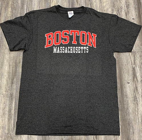 RED BOSTON MASSACHUSETTS T-SHIRT
