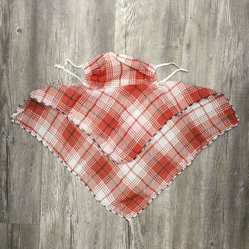 RED PLAID SILKY SCARF FACE MASK