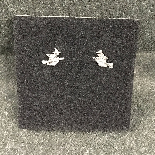 PEWTER WITCH STUD EARRINGS