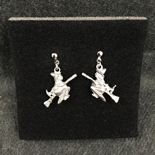 PEWTER WITCH DANGLE EARRINGS
