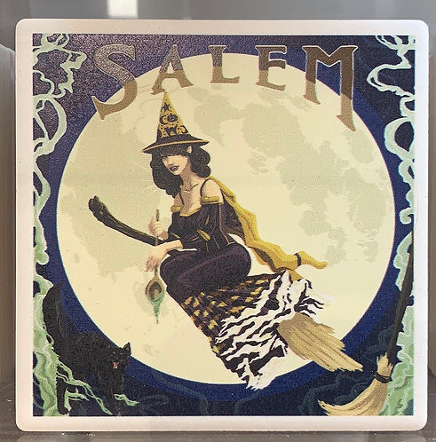 SALEM WITCH FLYING IN MOON CERAMIC COASTER