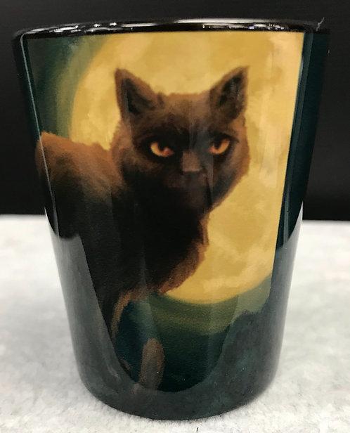 SALEM MA BLACK CAT & MOON SHOT GLASS