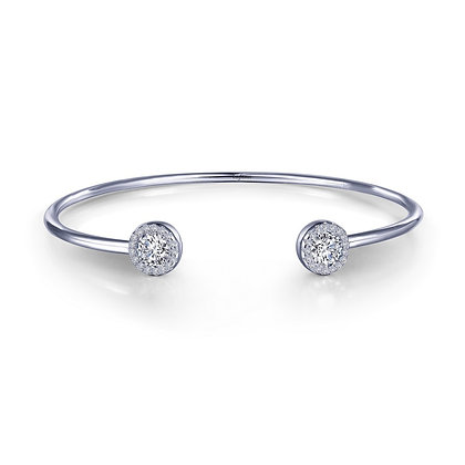 Sterling Silver Platinum Finish Halo Open Top Wire Bangle