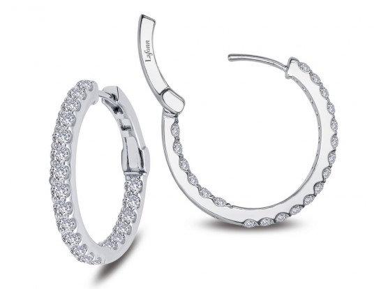 Sterling Silver Platinum Finish Medium Hoop Earrings