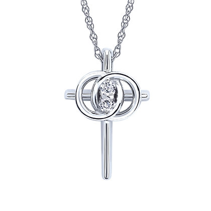 14K White Gold Diamond Christian Marriage Symbol Necklace