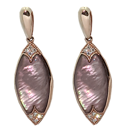 14K Mother of Pearl  & Diamond High Style Earrings