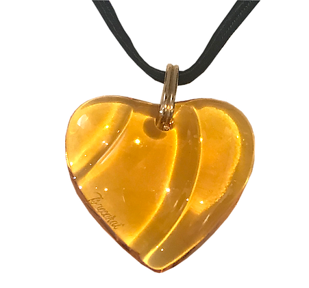 Amber Crystal Baccarat Heart Necklace
