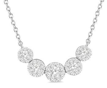 14K White Gold 5 Cluster Diamond Necklace