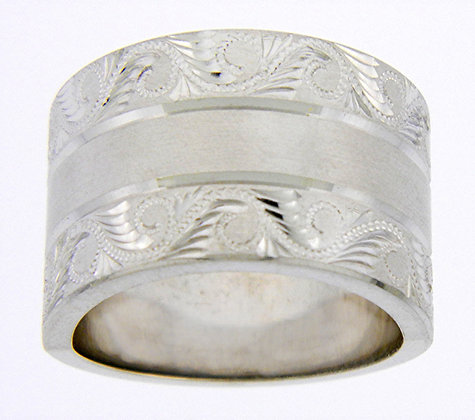 Sterling Silver Diamond Cut Edges Ring