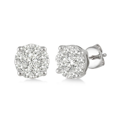 14K White Gold .50 cttw Diamond Cluster Earrings