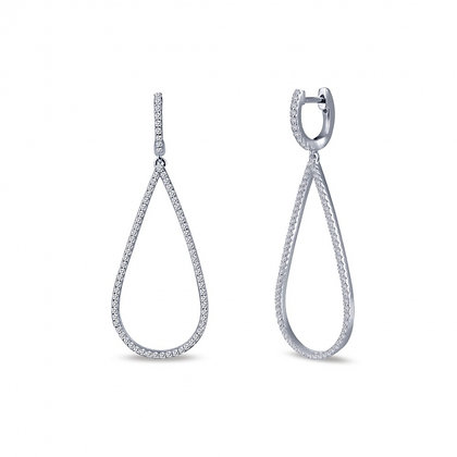 Sterling Silver Platinum Finish Dangle Earrings