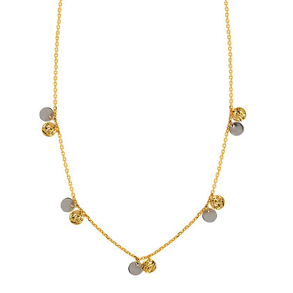 "14K Two Tone Station Disc18"" Necklace"