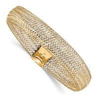 14K Two-Tone Polished Textured Stretch Bracelet