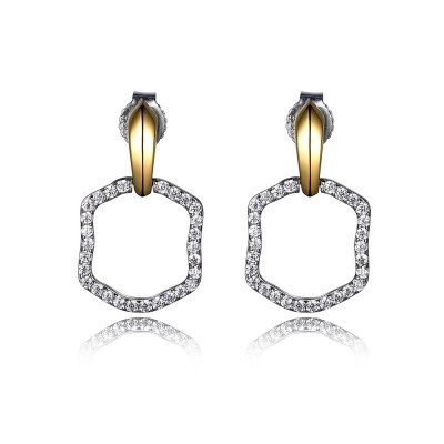 Sterling Silver Rhodium with Simulated Diamonds Drop Earrings