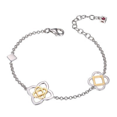 Sterling Silver Two Tone Four Point Rolo Bracelet