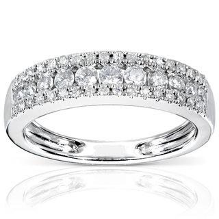 White 14 K 3 Row Anniversary Ring
