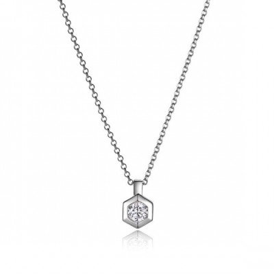Sterling Silver Bezel Set Simulated Diamond Necklace