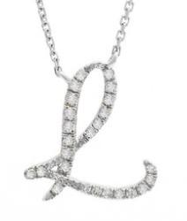 14K White Gold Letter L Diamond Initial Script Necklace