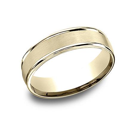 Yellow Gold Round Edge Men's Wedding Band