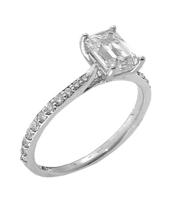 14K Emerald Cut Diamond Engagement Ring