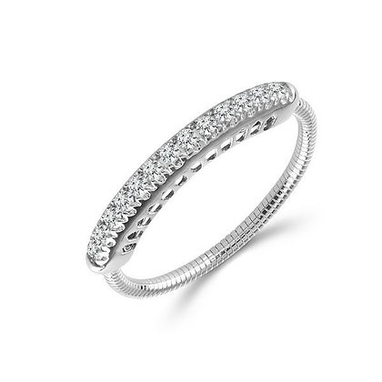 14K White Gold Diamond Expandable Ring