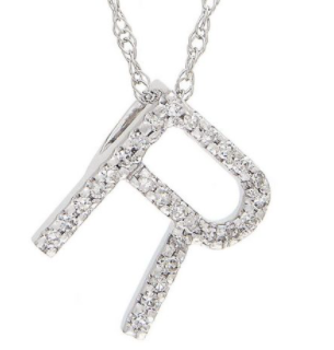 14K White Gold Letter R Initial Block Necklace