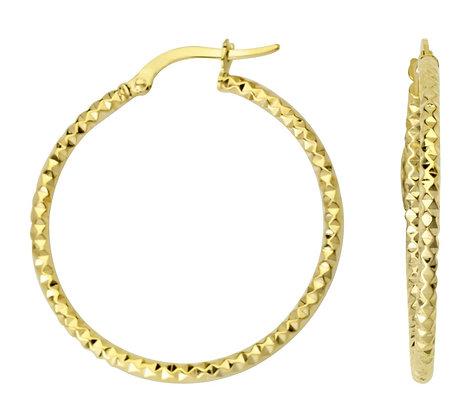 10K Yellow Gold Fancy Diamond Cut Hoop Earrings