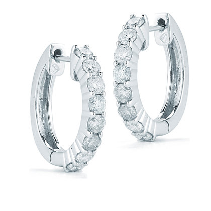 14K White Gold Small Hoop Diamond Earrings