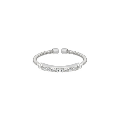 Sterling Silver April Birthstone Cable Cuff Ring