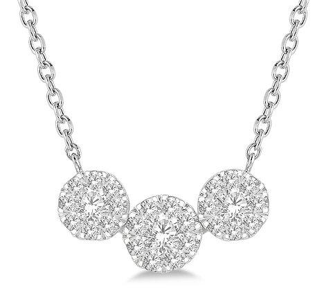 14K White Gold 3 Cluster Diamond Drop Necklace